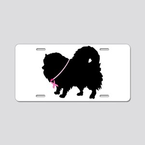 Pink Ribbon Pomeranian Aluminum License Plate