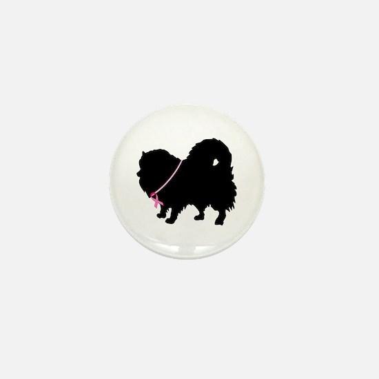Pink Ribbon Pomeranian Mini Button