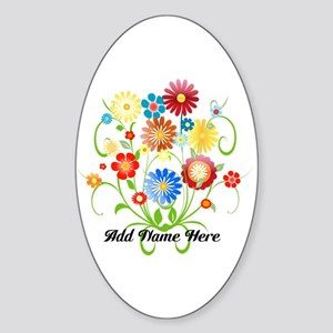 Personalized floral light Sticker (Oval)