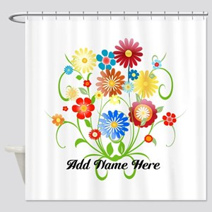Personalized floral light Shower Curtain