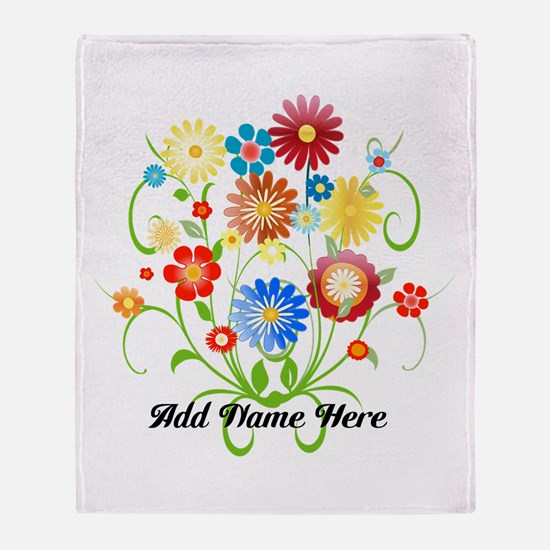 Personalized floral light Throw Blanket