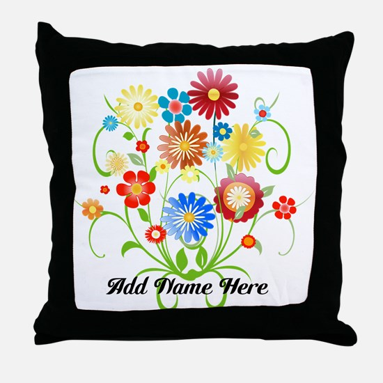 Personalized floral light Throw Pillow
