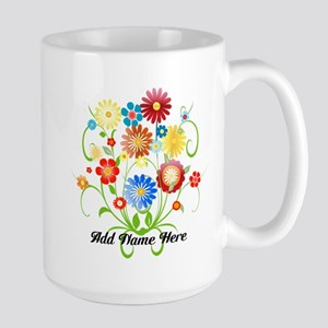 Personalized floral light Large Mug