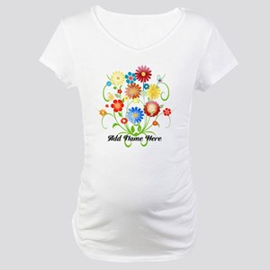 Personalized floral light Maternity T-Shirt