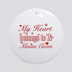 Cool Maine Coon Cat breed designs Ornament (Round)