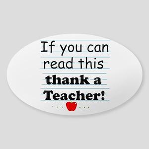 Thank a teacher Sticker (Oval)