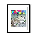 Dog party Toilet water Framed Panel Print