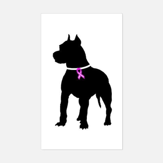 Pitbull Terrier Breast Cancer Sticker (Rectangle)