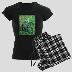 green abstract Women's Dark Pajamas