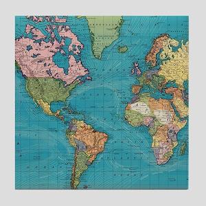 Vintage Map of The World (1897) Tile Coaster