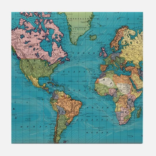 Vintage Map of The World (1897) Tile Coaster