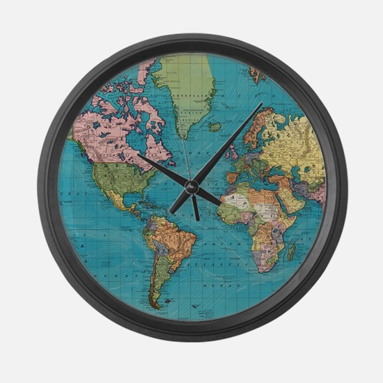 Vintage Map of The World (1897) Large Wall Clock