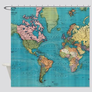 World Map Shower Curtains Cafepress