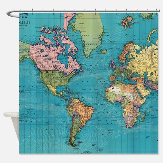 Vintage Map of The World (1897) Shower Curtain