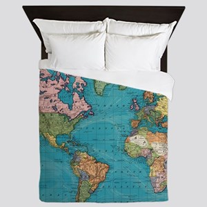Vintage Map of The World (1897) Queen Duvet