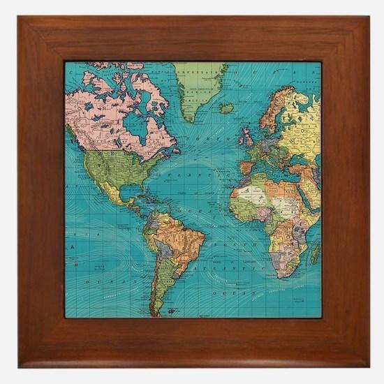World map framed art tiles buy world map framed tile cafepress vintage map of the world 1897 framed tile gumiabroncs Choice Image