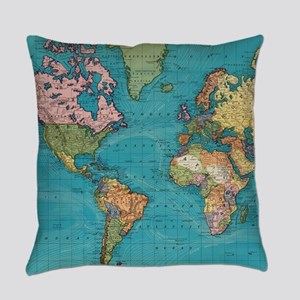 Vintage Map of The World (1897) Everyday Pillow
