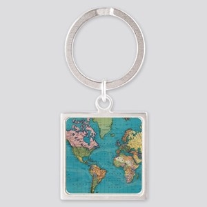 Vintage Map of The World (1897) Keychains