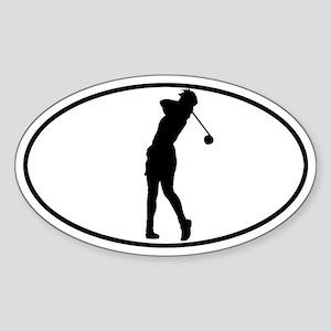 Golfer - Woman Oval Sticker