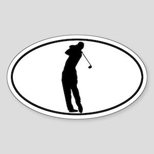 Golfer - Man Oval Sticker