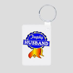 Trophy Husband Ribbon Aluminum Photo Keychain