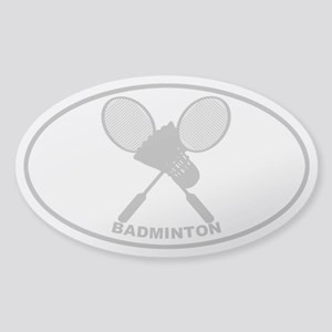 Badminton - Gray on Clear Oval Sticker