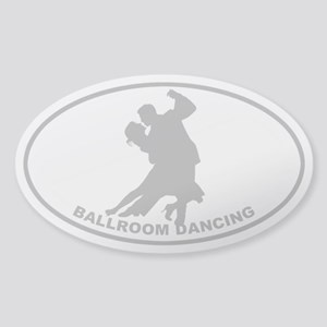 Ballroom Dancing - Gray on Clear Oval Sticker