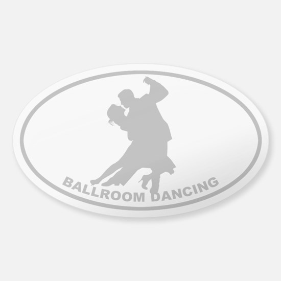 Ballroom Dancing - Gray on Clear Oval Decal