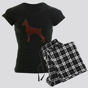 Red Doberman Silhouette Women's Dark Pajamas