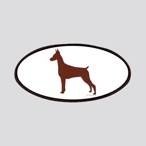 Red Doberman Silhouette Patches