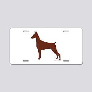 Red Doberman Silhouette Aluminum License Plate