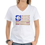 Patriotic Baseball Women's V-Neck T-Shirt