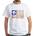 Patriotic Baseball White T-Shirt