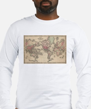 Vintage Map of The World (1864 Long Sleeve T-Shirt