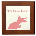 Make Cancer Extinct Dinosaur Pink Framed Tile