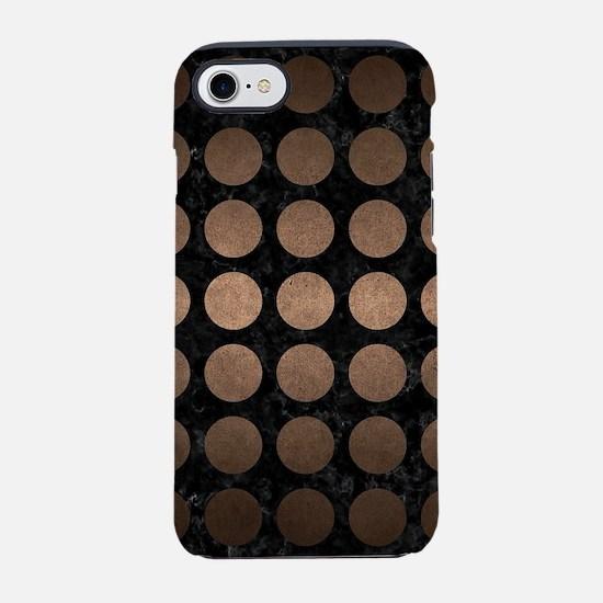 CIRCLES1 BLACK MARBLE & BRONZE iPhone 7 Tough Case