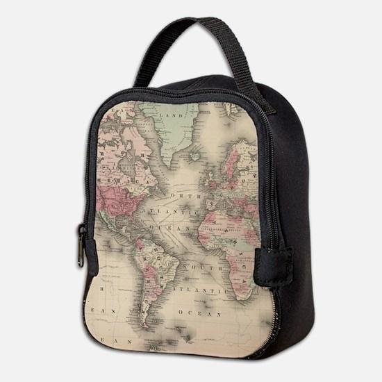 Vintage Map of The World (1864) Neoprene Lunch Bag
