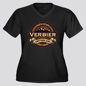 Verbier Sepia Women's Plus Size V-Neck Dark T-Shir