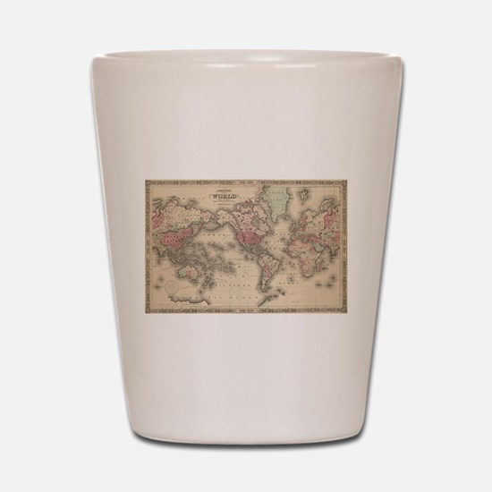 Vintage Map of The World (1864) Shot Glass