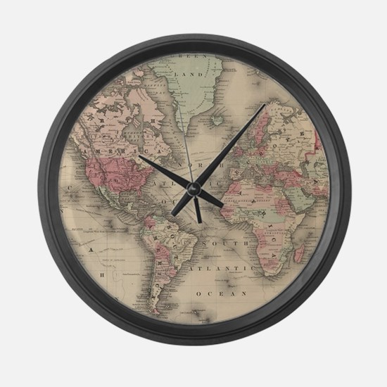 Vintage Map of The World (1864) Large Wall Clock