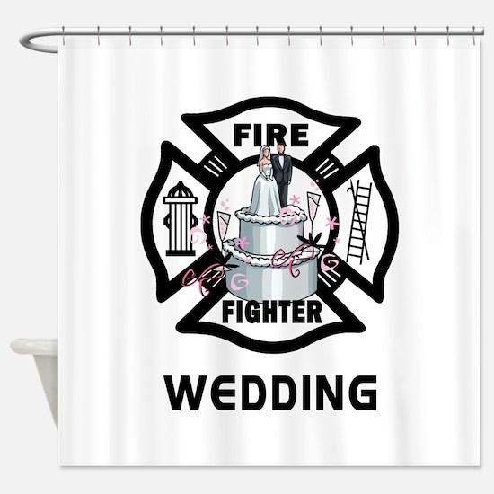 Firefighter Wedding Cake Shower Curtain