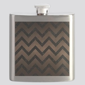 CHEVRON9 BLACK MARBLE & BRONZE METAL (R) Flask