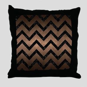 CHEVRON9 BLACK MARBLE & BRONZE METAL Throw Pillow