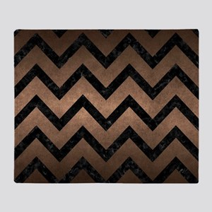 CHEVRON9 BLACK MARBLE & BRONZE METAL Throw Blanket