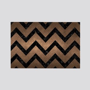 CHEVRON9 BLACK MARBLE & BRONZE ME Rectangle Magnet