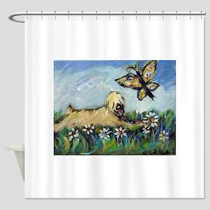 Wheaten Terrier butterfly Shower Curtain