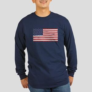 US flag vintage Long Sleeve Dark T-Shirt