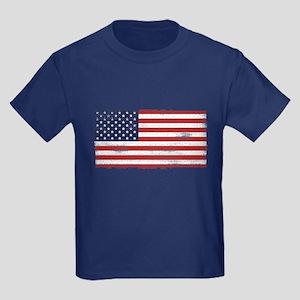 US flag vintage Kids Dark T-Shirt