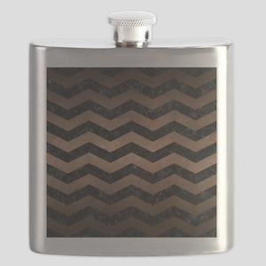 CHEVRON3 BLACK MARBLE & BRONZE METAL Flask