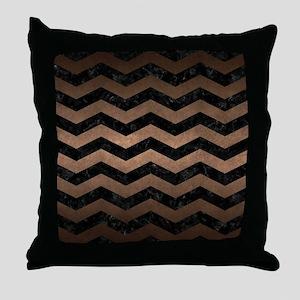 CHEVRON3 BLACK MARBLE & BRONZE METAL Throw Pillow